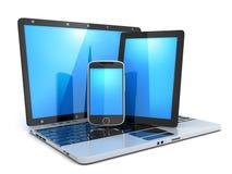 Ordenador portátil, teléfono y PDA Foto de archivo libre de regalías