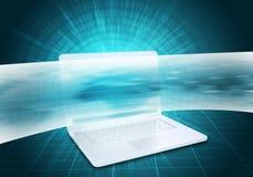 Ordenador portátil virtual y línea ancha Imagen de archivo