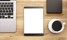 Ordenador portátil y artilugios en la tabla Imagen de archivo libre de regalías