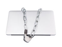 Ordenador portátil y cadenas VI fotografía de archivo libre de regalías