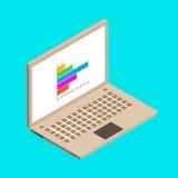 Ordenador portátil y carta isométricos del witn del ejemplo para su diseño Imagen de archivo libre de regalías