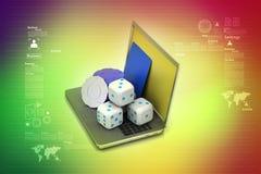 Ordenador portátil y cubo Fotografía de archivo