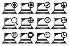 Ordenador portátil y diverso sistema del icono de las funciones libre illustration
