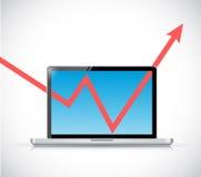 Ordenador portátil y ejemplo de la flecha del gráfico de negocio Fotos de archivo