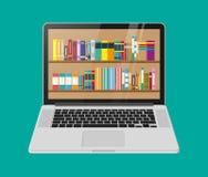 Ordenador portátil y estante de librería ilustración del vector