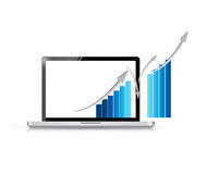 Ordenador portátil y gráfico de negocio azul Fotografía de archivo