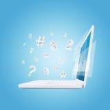 Ordenador portátil y gráficos Foto de archivo libre de regalías