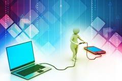 ordenador portátil y móvil de conexión del hombre