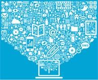 Ordenador portátil y medios iconos sociales ilustración del vector