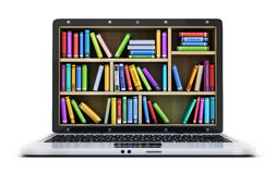 Ordenador portátil y muchos libro stock de ilustración