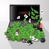 Ordenador portátil y pila de tarjetas de microprocesadores del casino de los dólares stock de ilustración