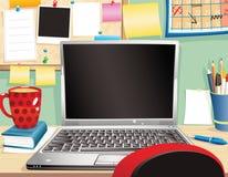 Ordenador portátil y puesto de trabajo Stock de ilustración