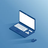 Ordenador portátil y ratón isométricos Foto de archivo libre de regalías