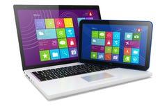 Ordenador portátil y Tablet PC Foto de archivo