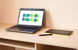 Ordenador portátil y tableta de gráficos Foto de archivo