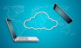 Ordenador portátil y tableta del ordenador con concepto de la red de la nube Imagenes de archivo