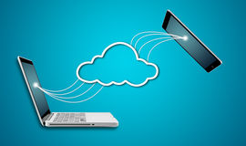 Ordenador portátil y tableta del ordenador con concepto de la red de la nube Fotografía de archivo