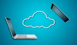 Ordenador portátil y tableta del ordenador con concepto de la red de la nube Fotografía de archivo libre de regalías