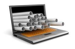 Ordenador portátil y tuberías de acero (trayectoria de recortes incluida) Imagen de archivo libre de regalías