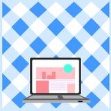 Ordenador port?til abierto con el homepage de la p?gina web en la pantalla Era del ordenador Tecnolog?a de la informaci?n Concept ilustración del vector