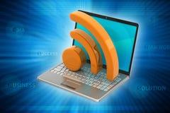 Ordenador portátil con el icono de los rss Imagen de archivo libre de regalías
