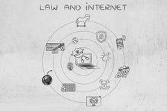 Ordenador portátil con el sombrero y las esposas de la policía con los iconos cibernéticos de las amenazas Foto de archivo