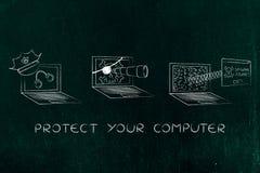 Ordenador portátil con el sombrero y las esposas de la policía contra el ordenador del spyware del pirata Fotos de archivo libres de regalías