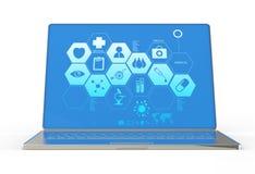 ordenador portátil moderno 3d e interfaz médico Fotos de archivo libres de regalías
