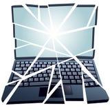 Ordenador portátil roto reparación del arreglo en pedazos Fotos de archivo libres de regalías