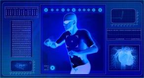 Ordenador que radiografía el cuerpo humano ilustración del vector
