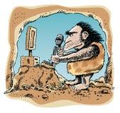 Ordenador que talla al hombre de las cavernas Fotografía de archivo