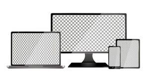 Ordenador realista, ordenador portátil, tableta y teléfono móvil con la pantalla transparente del papel pintado aislada Sistema d Imagen de archivo