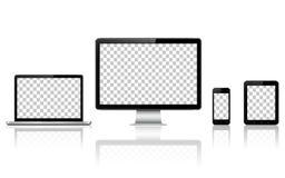 Ordenador realista, ordenador portátil, tableta y teléfono móvil con la pantalla transparente del papel pintado aislada libre illustration