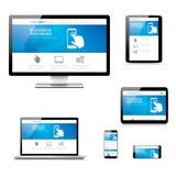 Ordenador responsivo moderno del desarrollo web, ordenador portátil stock de ilustración