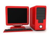 Ordenador rojo Imagenes de archivo