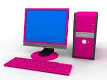 Ordenador rosado Imágenes de archivo libres de regalías