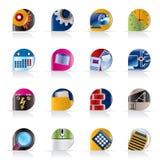Ordenador, teléfono móvil e iconos del Internet ilustración del vector