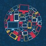 Ordenador, teléfono móvil y círculo de la tablilla Fotos de archivo