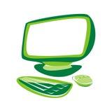 Ordenador verde Imágenes de archivo libres de regalías