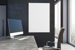 Ordenador y cartel en blanco en oficina libre illustration