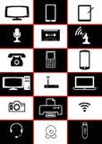 Ordenador y dispositivos blancos y negros Imágenes de archivo libres de regalías