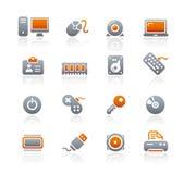 Ordenador y dispositivos de // de los iconos del grafito Imagen de archivo