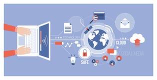 Ordenador y redes globales ilustración del vector