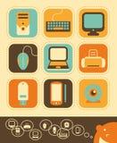 Ordenador y sistema del icono de la electrónica Imagen de archivo libre de regalías