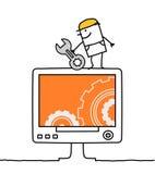 Ordenador y trabajador Imagen de archivo