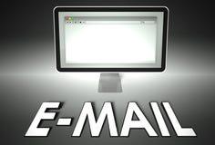 Ordenador y web browser con el email, Internet ilustración del vector