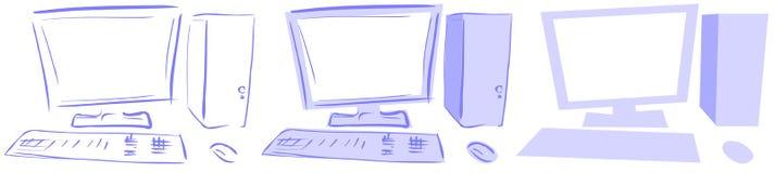 Ordenadores aislados de escritorio en tonos azules Foto de archivo libre de regalías