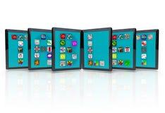 Ordenadores de la tablilla con los iconos de la aplicación para Apps libre illustration
