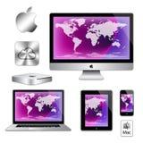 Ordenadores del macbook del ipad del iphone del imac de Apple Imágenes de archivo libres de regalías