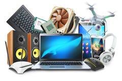 Ordenadores, dispositivos móviles y logotipo digital de los accesorios ilustración del vector